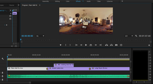 Screenshot of Adobe Premier Pro being used to edit a 360 video