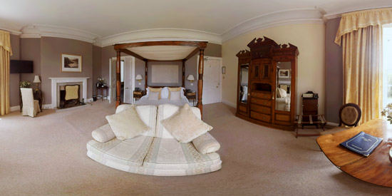 Part of a 360 degree image in a hotel bedroom