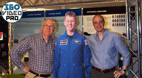 Founders of 360 video Pro with a cardboard cut out of Tim Peake